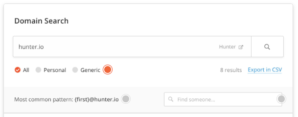 Hunter email adress tool
